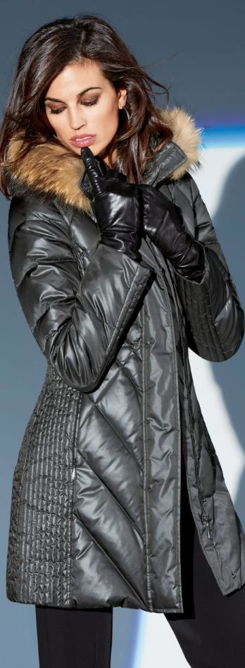 Women fashion clothing outfit style jacket winter fur pants gloves black autumn casual