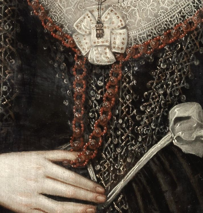 Detail.  William Larkin – Portrait of a Lady, possibly Mrs Lowe – circa 1610-20.  Love the spangles and metal thread embroidery.