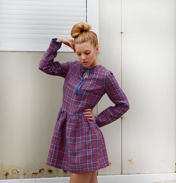 Plaid dress / check dress / smock dress / boho dress/ boho