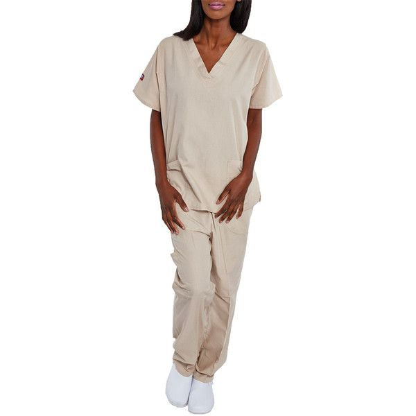 Hey Collection Khaki Pocket V-Neck Scrub Top & Cargo Scrub Pants ($12) ❤ liked on Polyvore featuring pants, plus size, plus size khaki pants, pink pants, womens plus size khaki pants, plus size trousers and pink cargo pants