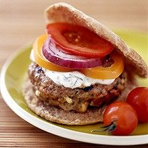 Feta stuffed lamb burgers with minted yogurt sauce from Weight Watchers UK