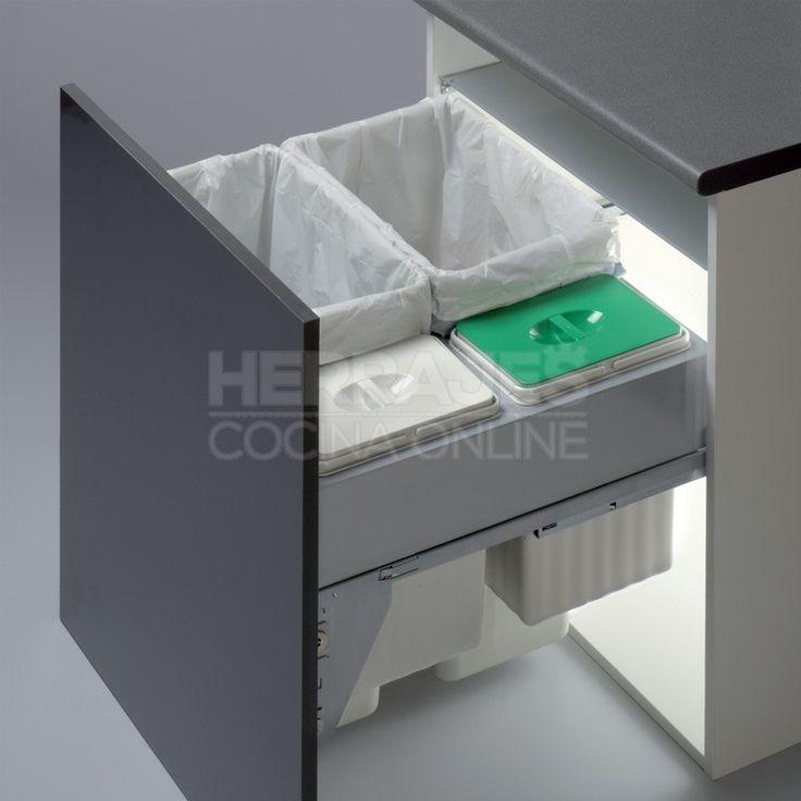 Cubos Basura Ecológicos 2 x 35 + 2 x 7,5 L con Sistema de Guías