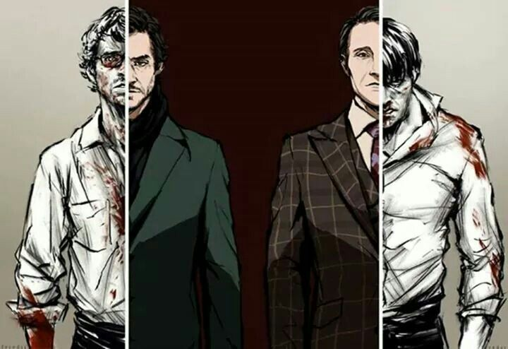 Art of Hugh Dancy as Will Graham and Mads Mikkelsen as Hannibal Lecter in Hannibal