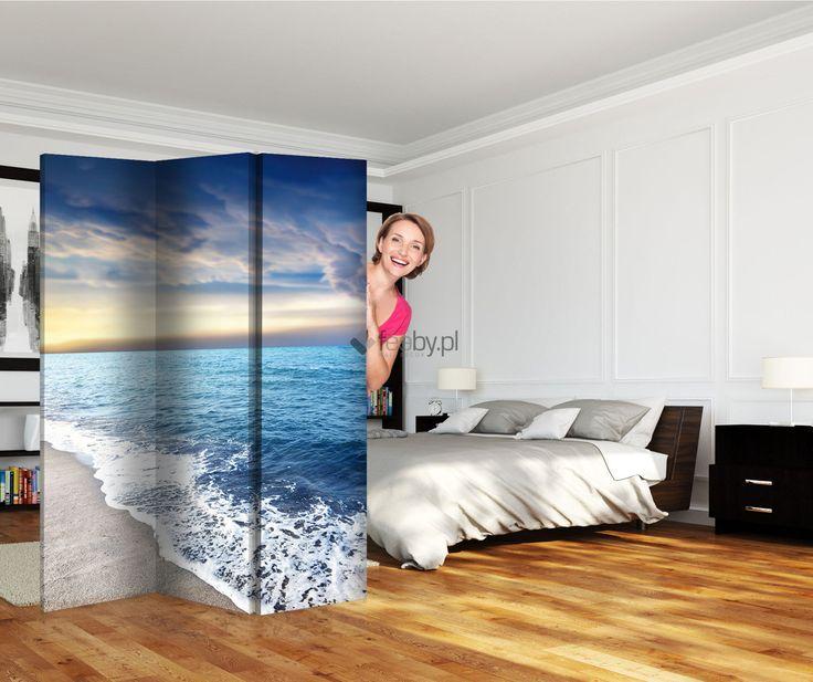"""Parawan ,,Brzeg morza"""" w dwóch rozmiarach - 120x150 i 120x180. Zapraszamy do sklepu feeby.pl!"""
