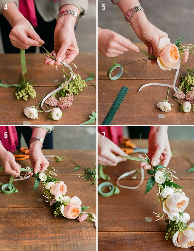 DIY Floral Crown - These instructions use fresh flowers but they are good instructions and can be used with silk flowers and to make garland.