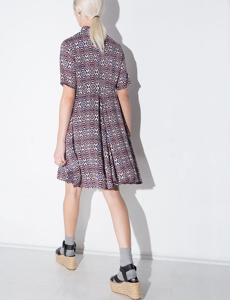 60's Floral Mock Neck Dress - Graphic Print Mini Dress -