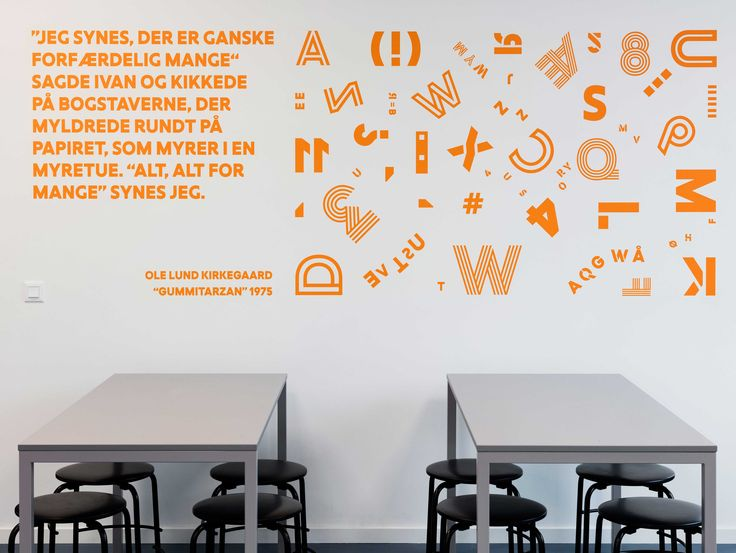 Signage and wayfinding at Frederiksbjerg School, Aarhus. In the classrooms, the graphics unfold through literary quotes and scientific doctrines and formulas, all of which have been carefully selected and adjusted to the specific subject and year level.
