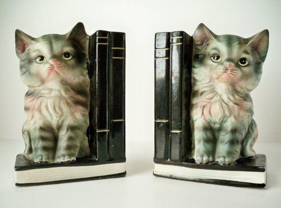 1950s Vintage Kitty Cat Bookends by VintageFindsbySuzi on Etsy, $20.00