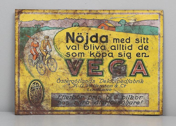 "153974. PLÅTSKYLT, ""Vega"", Östergötlands Velocipedfabrik KA Pettersson"