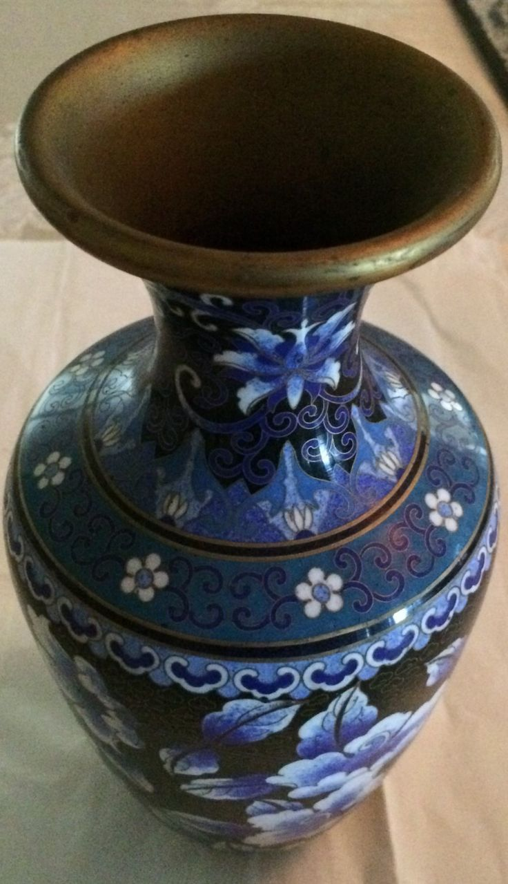 Chinese Cloisonne Enamel Black Ground With White And Blue Flower Affordable Collectible Cloisonne Vase Home Decor Holiday Gift By On Etsy