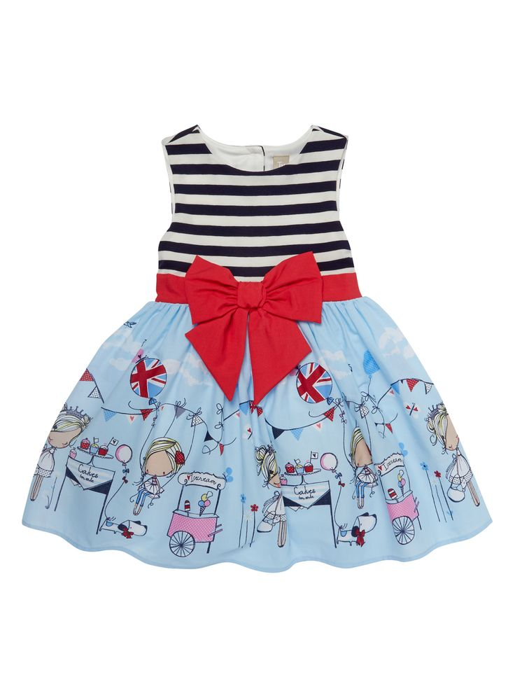 She'll love with this pretty prom style dress, complete with a large bow and delicate jubilee illustration. This dress is perfect for summer weddings and other occasions. Girls blue stripe occasion dress Netted underskirt Sleeveless Bow detail Ribbon fastening Button fastening Keep away from fire