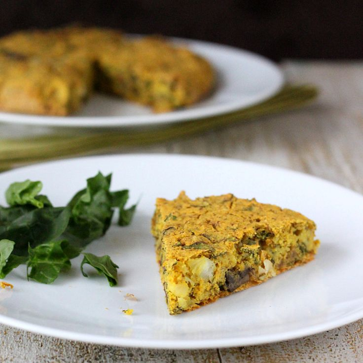 Vegan Soy free Frittata with Mushroom Chard Shallot Almond-Feta ...