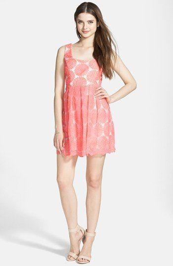 Trixxi Embroidered Fit & Flare Dress (Juniors) in Pink