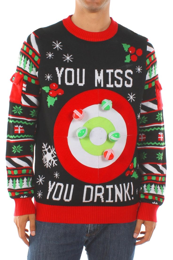 This sweater isn't just fun for the person wearing it, it's fun for the whole party! It comes with six velcro balls that will stick to the sweater when thrown. It also comes with a rule card that will lay down the law of the Tipsy Elves Drinking Game.