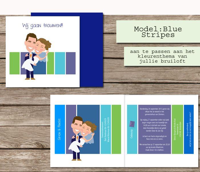 #custom # illustrated #wedding #invites  #trouwkaarten op maat #maatwerk #cartoon #tekening van jezelf nagetekend op een trouwkaart. #blue #stripes