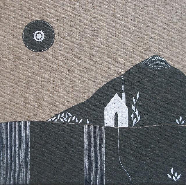 mountaintops 3 . original contemporary landscape painting on linen . by natasha newton. £75.00, via Etsy.