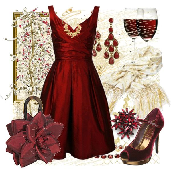 Little red dress...love the shoes, dress, earrings, and whatever that flower design jewelry is.