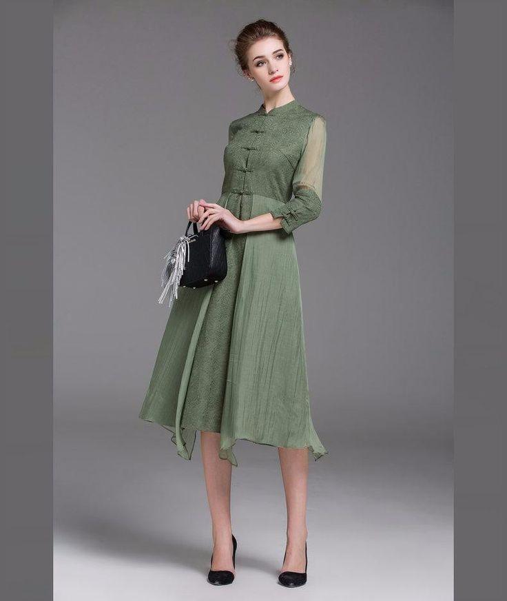 Frauen Midi Kleid Asymmetrische Frühjahr neue Stil Grüne Vintage Kleider…