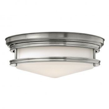 A great bathroom ceiling light the popular Hadley flush fitting ceiling light has a retro almost Art Deco feel and being flush mounted onto the ceiling with a drop of just 12.1cms is the ideal choice for bathrooms with a low ceiling height. Designed and manufactured in the USA using the best quality materials. The etched opal glass shade has a chrome surround that co-ordinates well with chrome taps and fittings in the bathroom. With an IP44 rating this light can safely be used in bathroom…