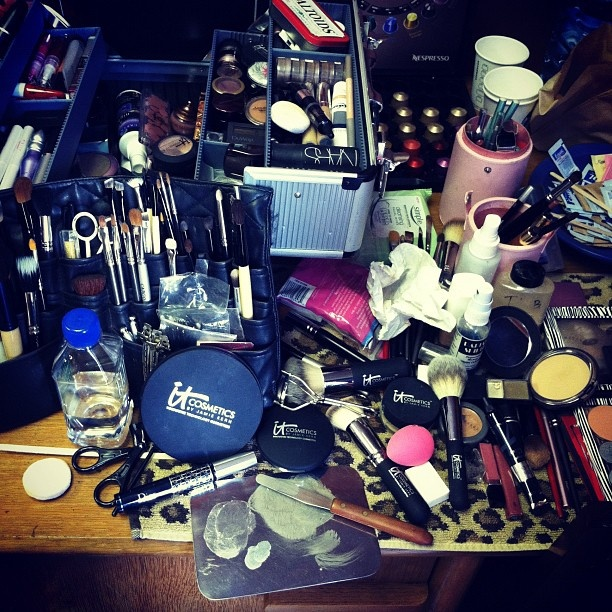 This is what my makeup station looks like after a busy photoshoot with a lot of models. Beautifying is a dirty job but luckily i'm doing it! =): Book