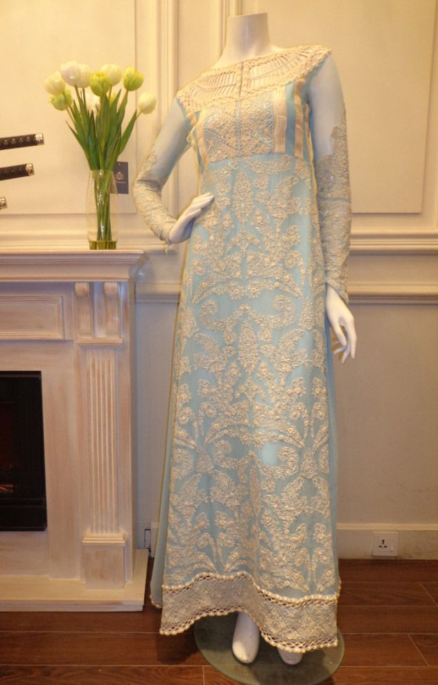 Buy Light Turquoise/Off-White Embroidered Chiffon Dress by Threads and Motifs Collection 2015.