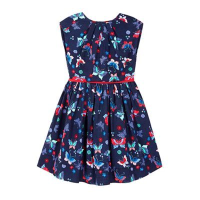 Yumi Girl blue Butterfly Printed Pleat Dress | Debenhams