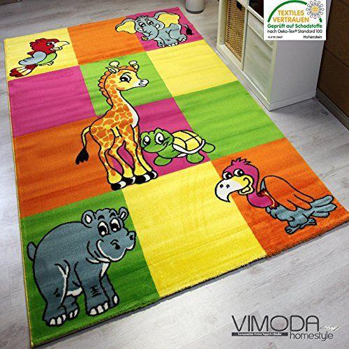 Awesome Holen Sie sich jetzt Modern Zoo Kinder Teppich Giraffe Elefant in Bunte Farben KO TEX Zertifiziert Pflegeleicht und Strapazierf hig VIMODA Ma e
