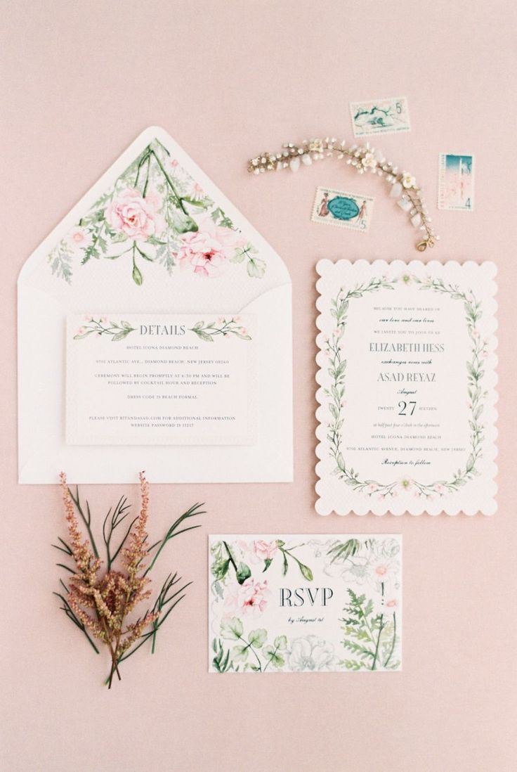 Romantic pastel wedding invitation suite: Invitations: Wedding Paper Divas - http://www.stylemepretty.com/portfolio/wedding-paper-divas Photography: Michelle Lange Photography - loveandbemarried.com Read More on SMP: http://www.stylemepretty.com/2017/01/30/romantic-beachside-multicultural-wedding/