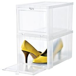 Store shoes on shoes on shoes with our Drop-Front Shoe Box that let's you see just enough for the shoe without taking away from the sophistication of your storage.