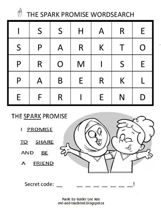 GGC Sparks Promise Word Search. #Girl_Guides #Canada #word_search