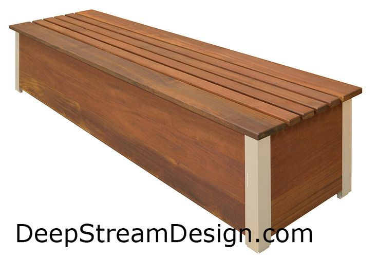 large wooden outdoor box bench