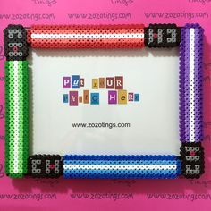 Star Wars Lightsaber photo frame hama beads - Original design created by Zo Zo Tings