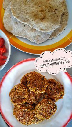 Chiftele din quinoa,linte rosie si seminte de susan servite cu pita rapida de casa