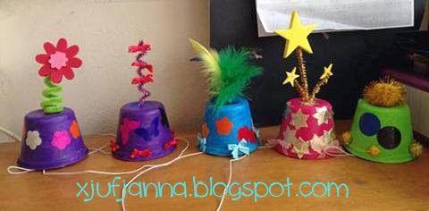 * Gekke feesthoedjes! Ook leuk met carnaval! maken met plastieken bloempot