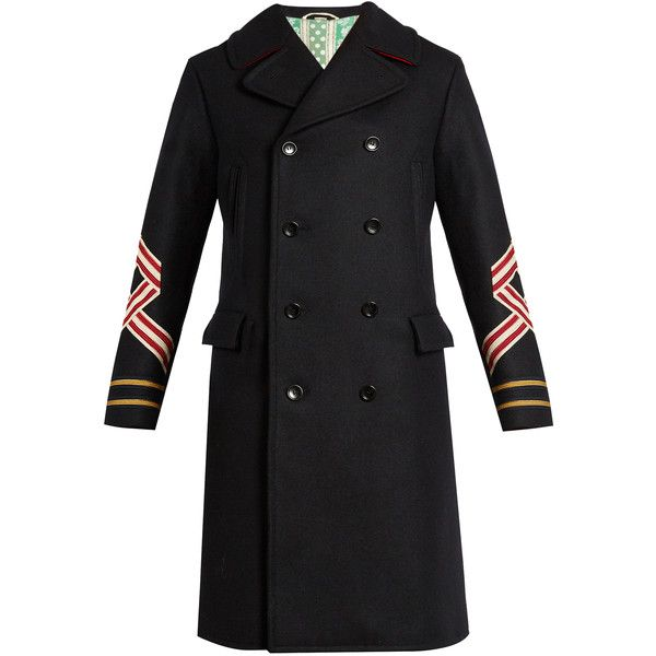Gucci Panther and sleeve-appliqué wool coat ($3,150) ❤ liked on Polyvore featuring men's fashion, men's clothing, men's outerwear, men's coats, navy, mens navy pea coat, men's navy wool coat, mens military style coat, mens wool military coat and mens wool coats