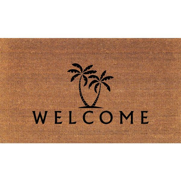 Palm Trees Welcome Door Mat Coir Doormat Rug 2 X 2 11 (24 Inches X 35... (£30) ❤ liked on Polyvore featuring home, rugs, brown, floor & rugs, home & living, coconut fiber door mats, coco fiber door mats, coco fiber mat, coir mat and brown rug