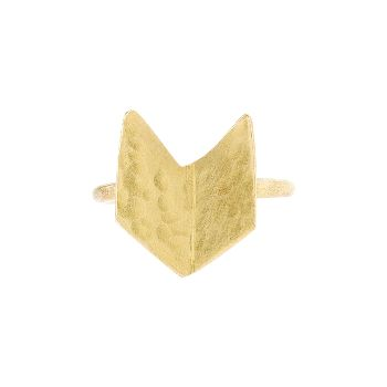 People Tree Brass Chevron Ring: Hand made chevron ring in brass with hand beaten finish. Made by Bombolulu, Fair Trade social business in Kenya that creates beautiful hand made jewellery. Bombolulu provides opportunities for people who have physical disabilities.