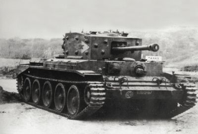 An early Cromwell A-27M Infantry Tank on gunnery trials in England. See more tank pictures. ©2007 Publications International, Ltd.