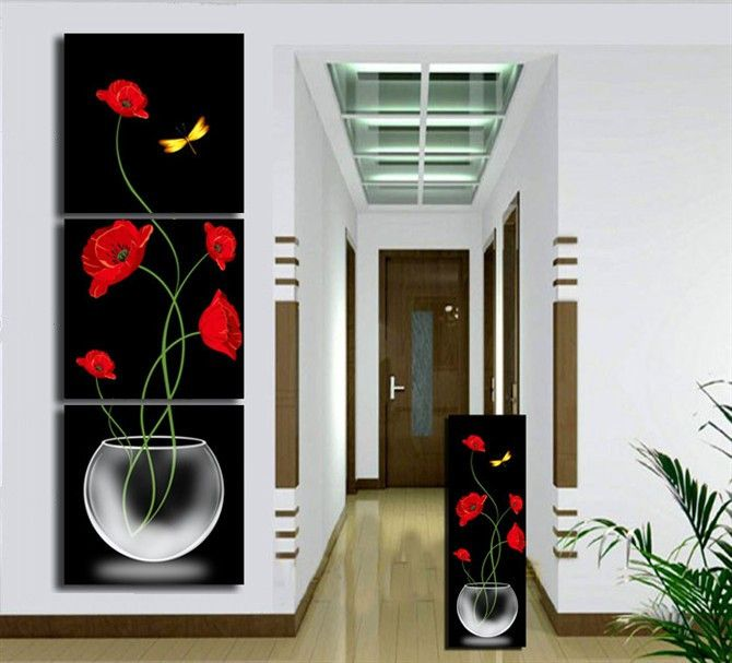 Free shipping 3piece black and red Living Room Decorative Canvas Painting Modern Huge Picture Paint Print flower Art Wall-in Painting & ... #buyart #cuadrosmodernos #art