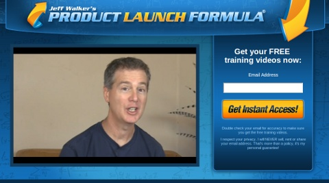 Here is a great example of a true squeeze page from Jeff Walker of Product Launch Formula