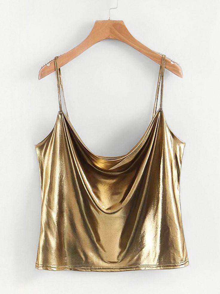 Shop Draped Metallic Cami Top online. SheIn offers Draped Metallic Cami Top & more to fit your fashionable needs.