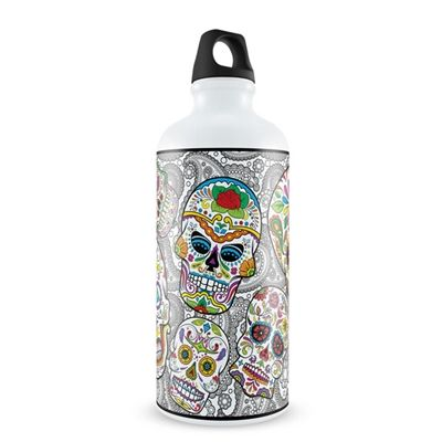 """Al diablo la muerte, mientras la vida nos dure!"" - To hell with death while we're still alive! inspired by the mexican Day of the Dead tradition, this water bottle represents an ode to life, kind of a ""new trendy carpe diem style""."