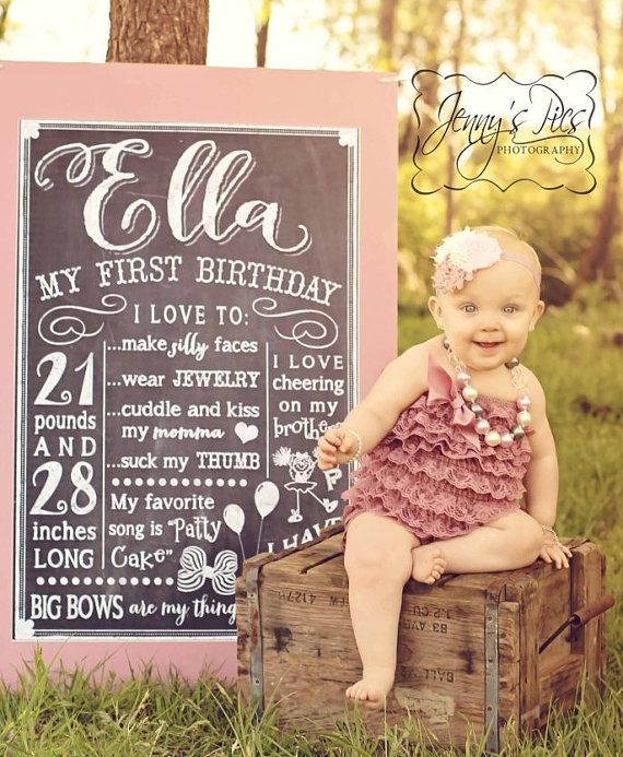 First birthday chalkboard sign poster print art by PaperDimeDesign