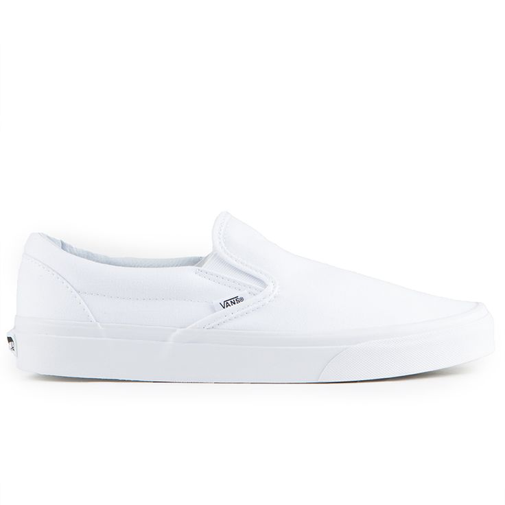 The Vans Classics Slip-On Men's Shoes in the True White Colorway is a Canvas Classic Slip-on that has a low profile, slip-on canvas upper with elastic side accents, Vans flag label and Vans original W