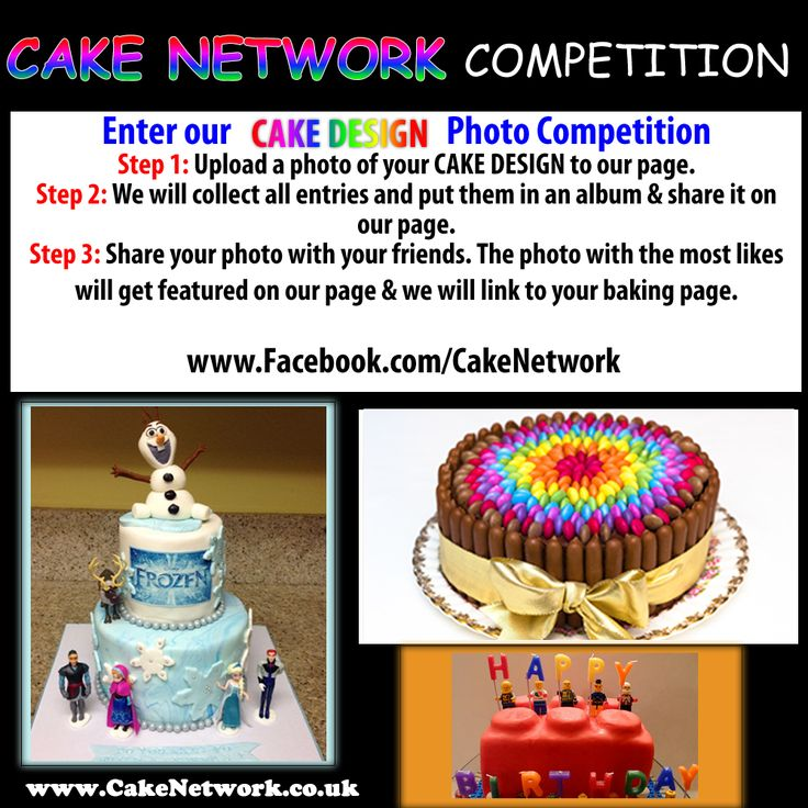 To join our cake contest, send us a picture of your cake design and we will add it to our facebook album.   Message us on facebook  www.facebook.com/cakenetwork