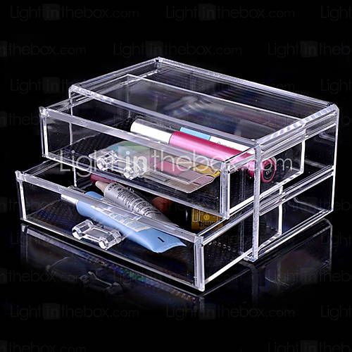 [USD $ 11.99] Acrylic Transparent Double Layer Cosmetics Storage Drawer