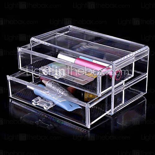 [USD $ 11.99] Acrylic Transparent Double Layer Cosmetics Storage Drawer