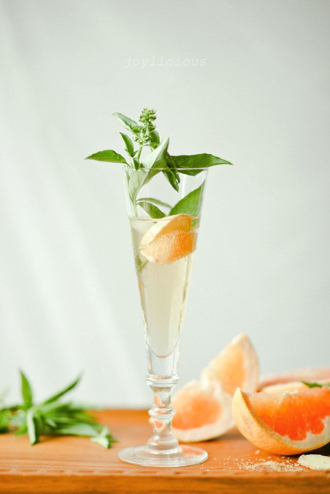 Non Alcoholic Grapefruit Basil Mimosas - All the fun without the alcohol.  http://onetwosimplecooking.com/blog/2012/8/31/grapefruit-basil-mimosas