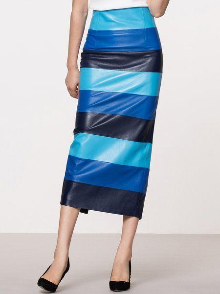 Shop Midi Skirts - Blue Elegant Slit H-line Leather Skirt online. Discover unique designers fashion at StyleWe.com.