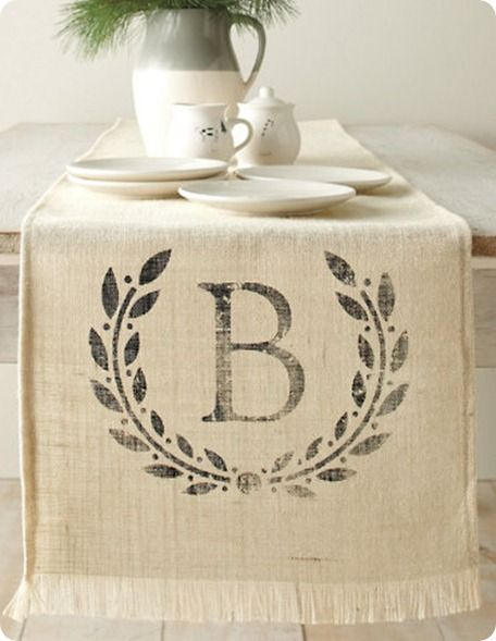 """burlap"" - 1 interior shot with table runner - This would highlight a print well and like the accent props. ~ Trish"